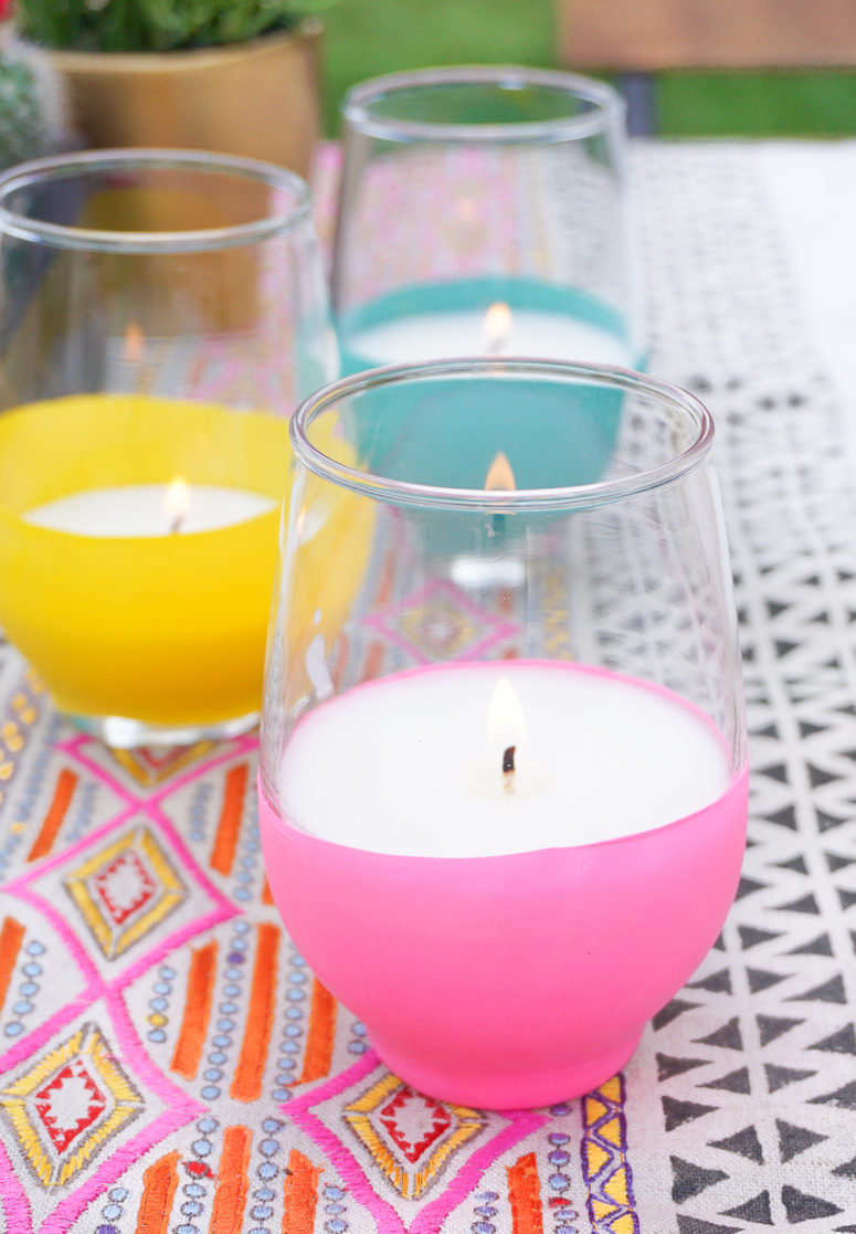 DIY balloon covered citronella candles in glasses (via sugarandcloth.com)