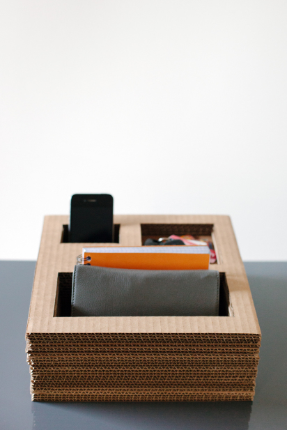 DIY cardboard desk organizer (via designformankind.com)