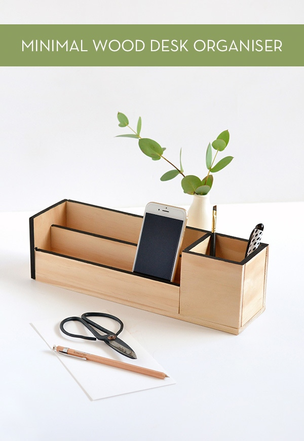 DIY pine wood and black paint organizer (via www.curbly.com)