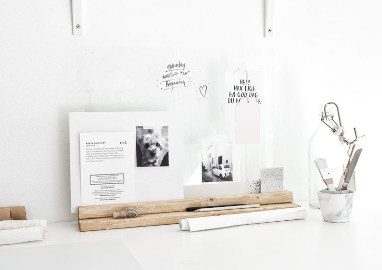 DIY glass and wood desk organizer for papers (via www.homedit.com)