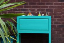 DIY wooden planter into a beverage cooler on casters