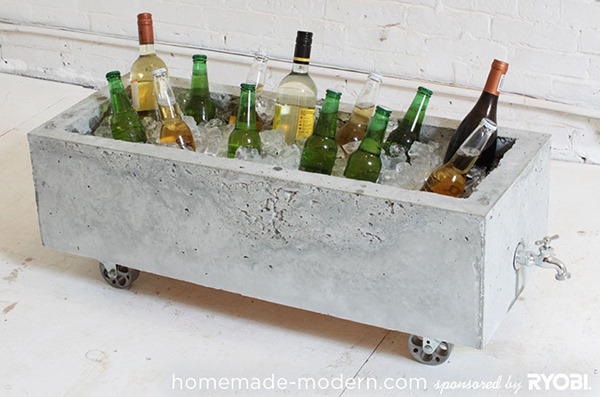 DIY concrete planter into a beverage cooler