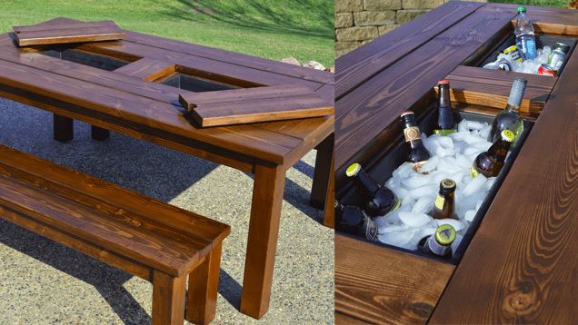 DIY patio table with ice compartments in the center