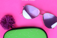 DIY cactus inspired sunglasses pouch