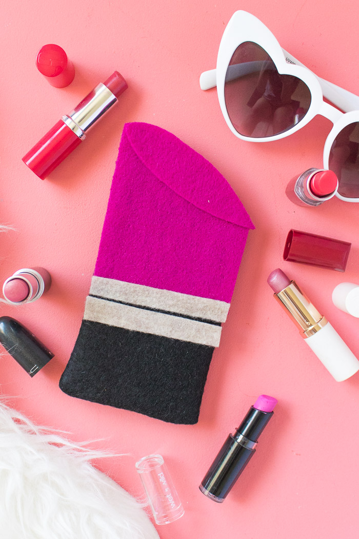 DIY lipstick sunglasses case of colorful felt (via www.clubcrafted.com)