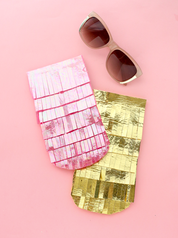 DIY iridescent fringe sunglasses cases (via akailochiclife.com)