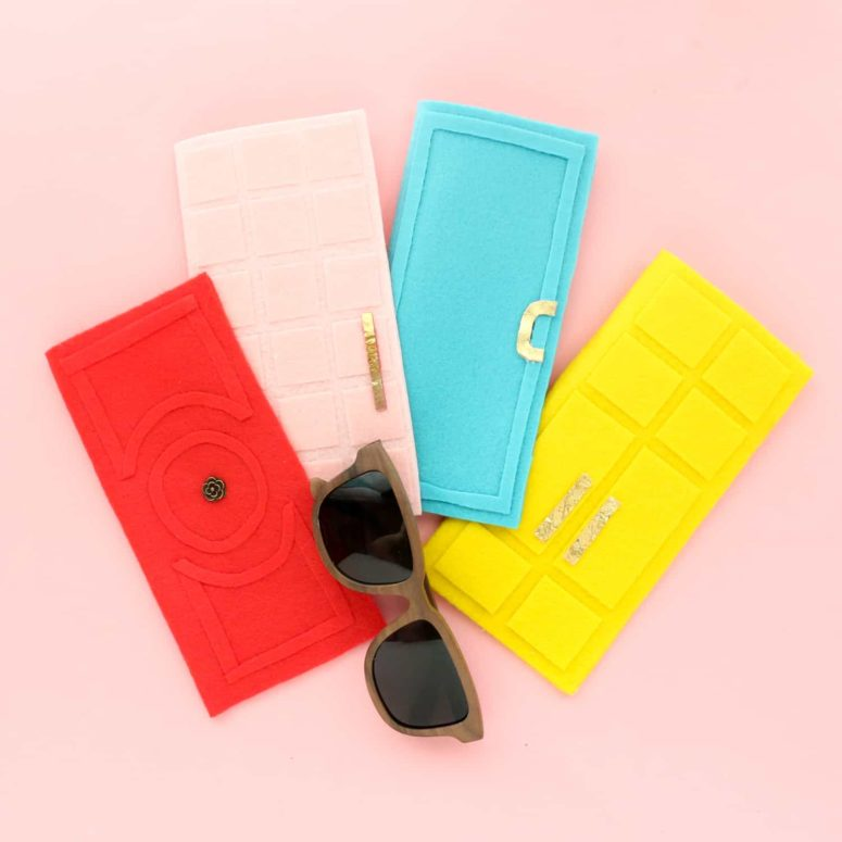 DIY colorful sunglasses cases inspired by ornate doors (via abeautifulmess.com)