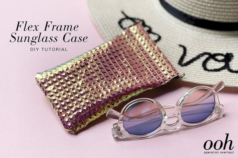 DIY metallic iridescent sunglasses case