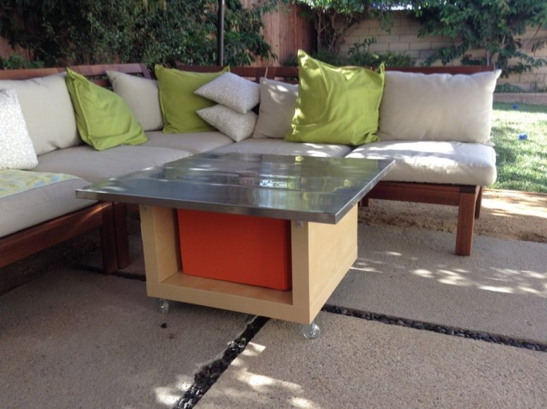DIY coffee table of Drona storage box, Ekby Mossby stainless steel shelves, LACK table (via www.ikeahackers.net)