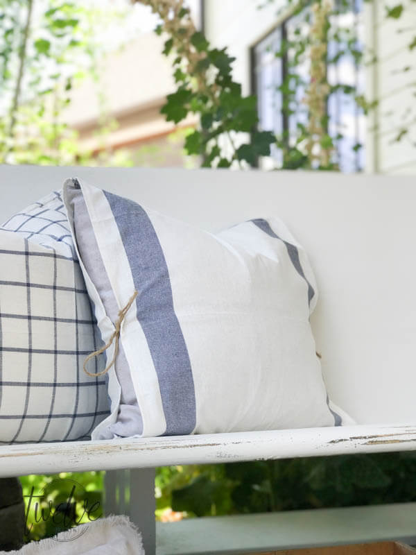 DIY pillows of IKEA tea towels (via www.twelveonmain.com)