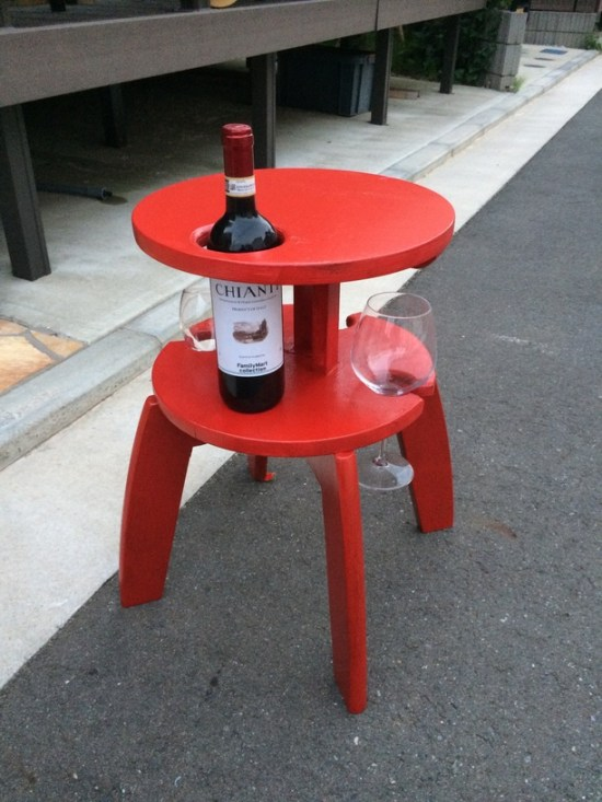 DIY Frosta stool wine table (via www.ikeahackers.net)