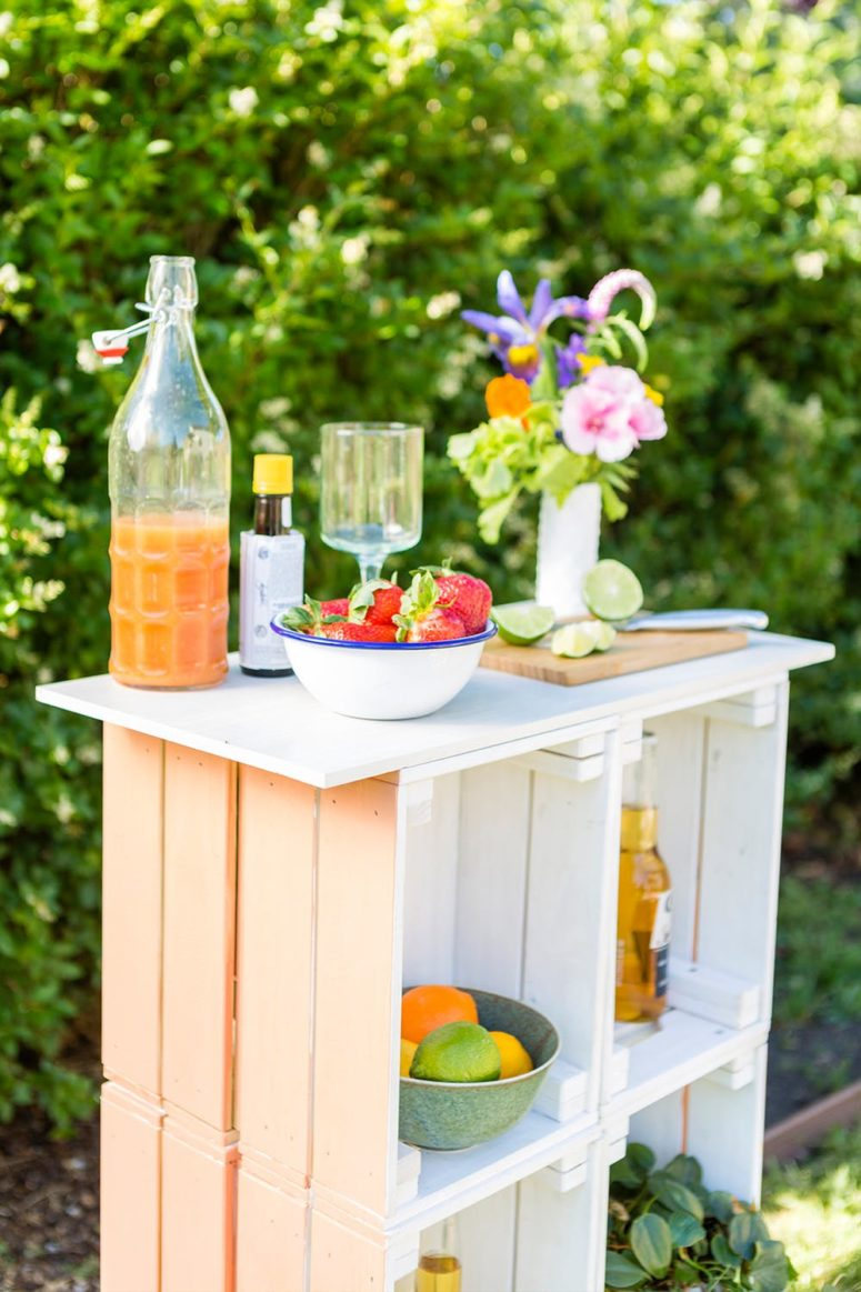 DIY outdoor bar of IKEA Knagglig boxes (via www.brit.co)