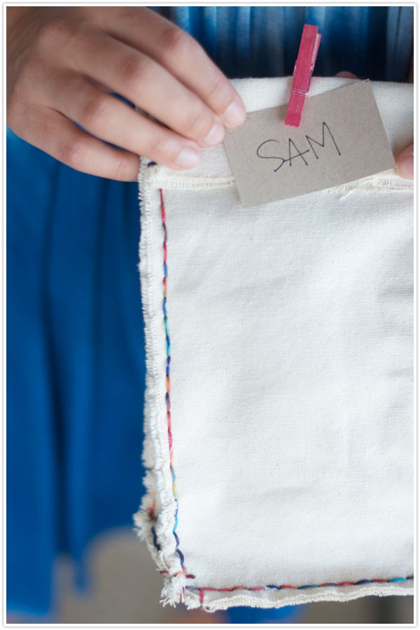 DIY canvas lunch bag with colorful stitching (via camillestyles.com)