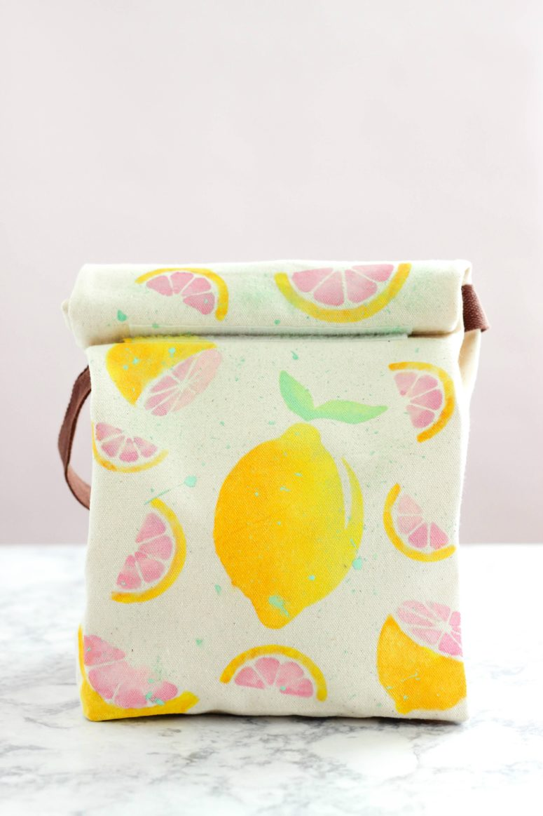 DIY lemon stenciled colorful lunch bag (via www.purelykatie.com)