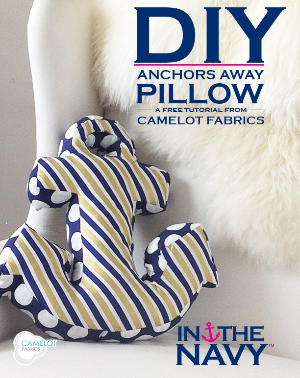 DIY anchor shaped pillow of striped and polka dot fabric