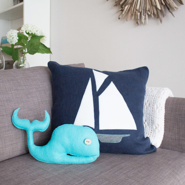 DIY duo of nautical pillows with a whale and boat pillow (via sustainmycrafthabit.com)