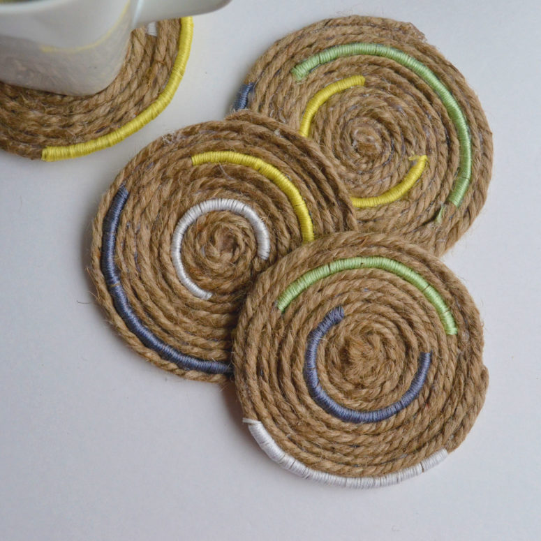 DIY jute rope and colorful twine coasters (via sparkandchemistry.com)