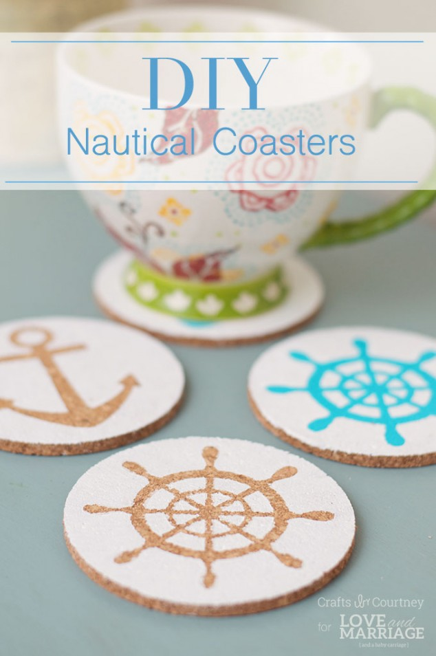 DIY nautical cork coasters