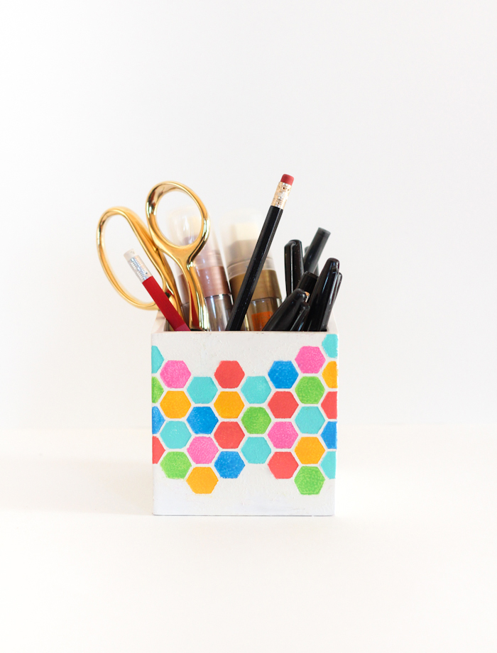 DIY stenciled pencil holder with hexagons (via thecraftedlife.com)