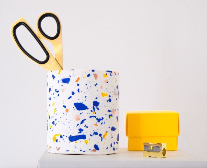 DIY terrazzo inspired pencil holder with colorful FIMO