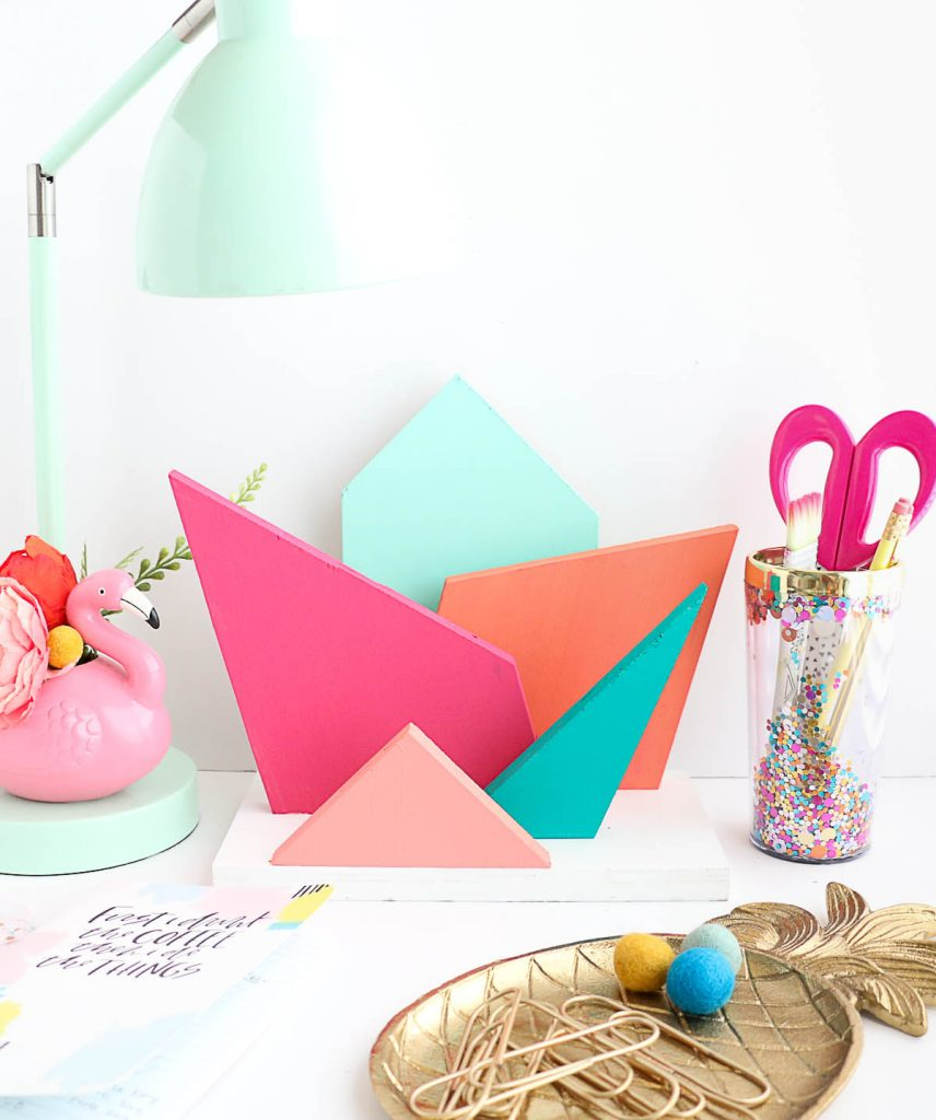 DIY colorful geometric desk organizer of wood