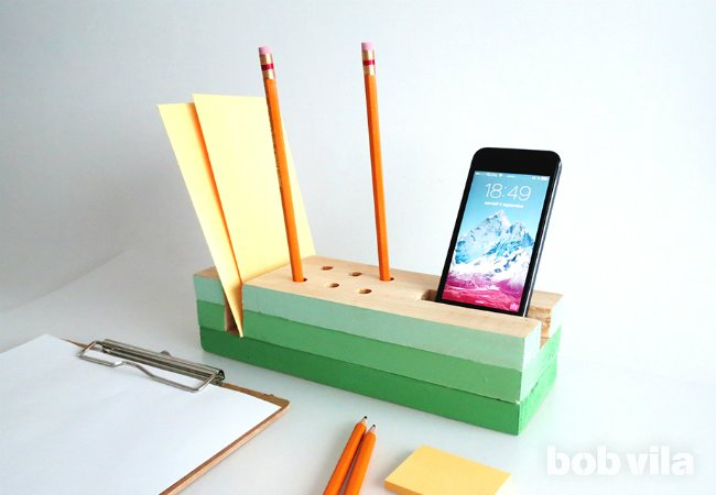 DIY ombre green desk organizer