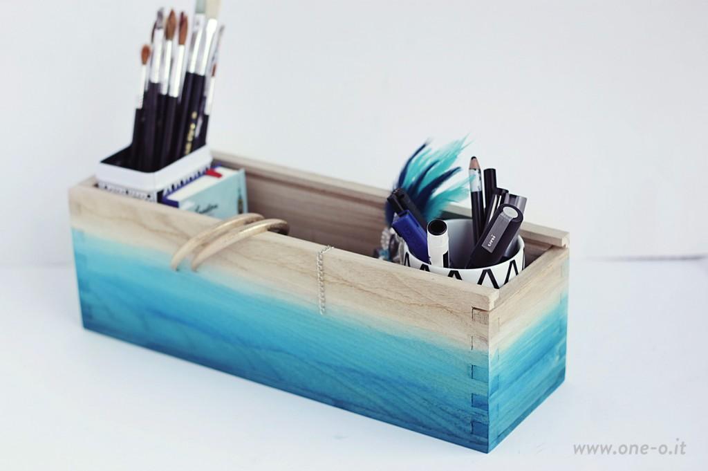 DIY ombre watercolor box organizer