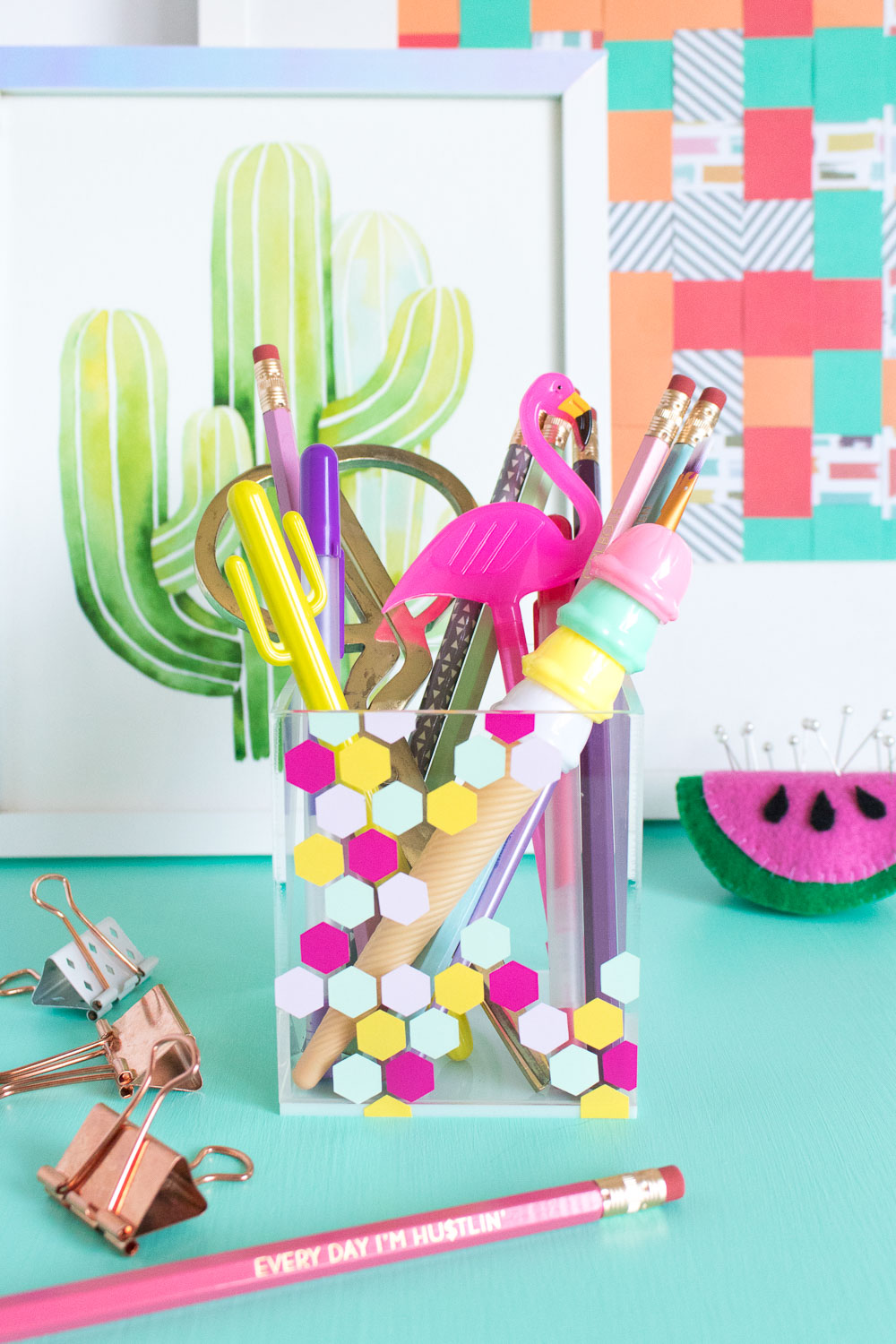 DIY clear acryl organizer with colorful hexagons