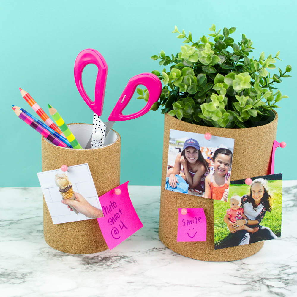 DIY cork board pencil holders