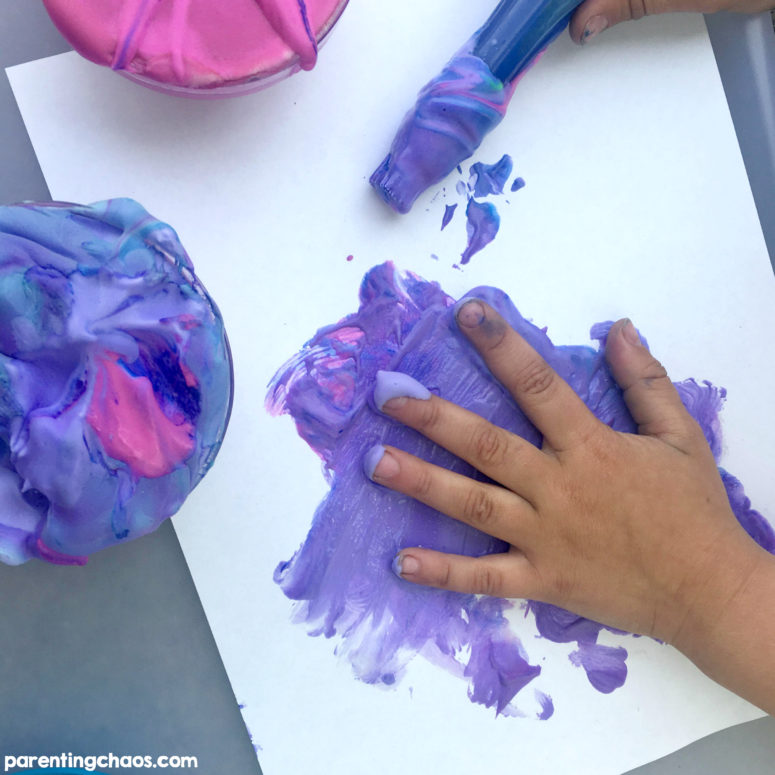 DIY shaving cream puffy paints (via parentingchaos.com)