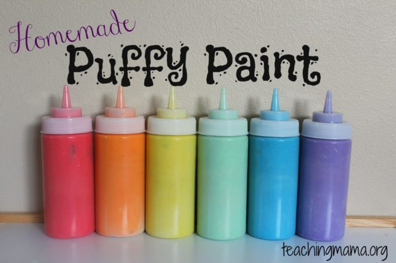 DIY non-toxic puffy paint of flour, baking soda and salt (via teachingmama.org)