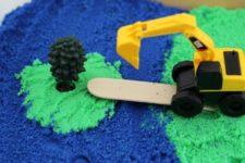 DIY sensory construction bin with kinetic sand