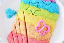 DIY rainbow colored kinetic sand