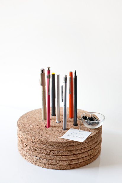 DIY pencil holder made of cork memo boards (via designformankind.com)