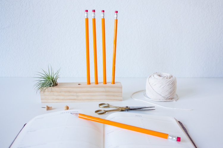 DIY minimalist wooden pencil holder with an airplant (via livefreecreative.co)
