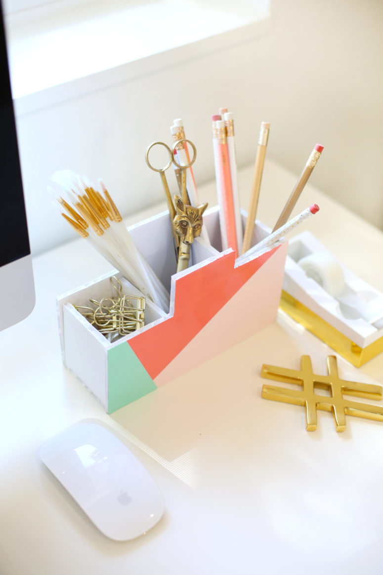 DIY colorful pencil holder with bright geometric touches (via lovelyindeed.com)