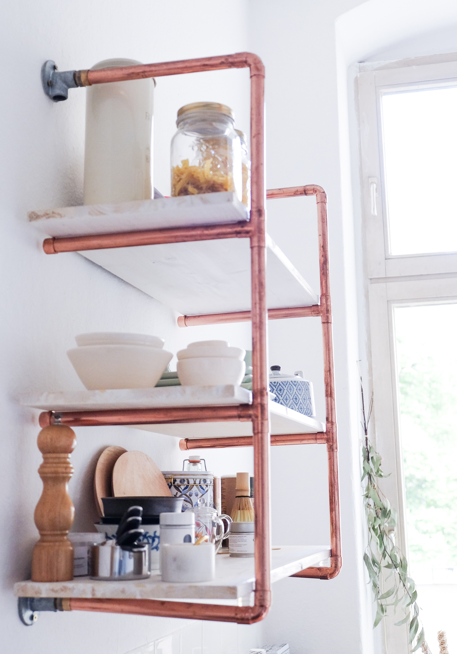 DIY copper piping and wood shelving unit