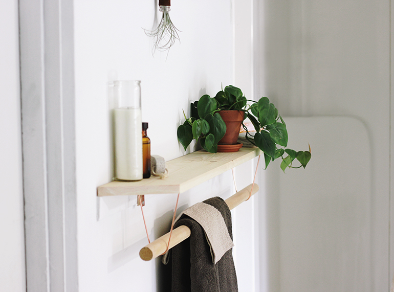 DIY minimalist wood and copper shelf and towel rack in one (via themerrythought.com)