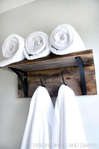 DIY rustic towel organizer