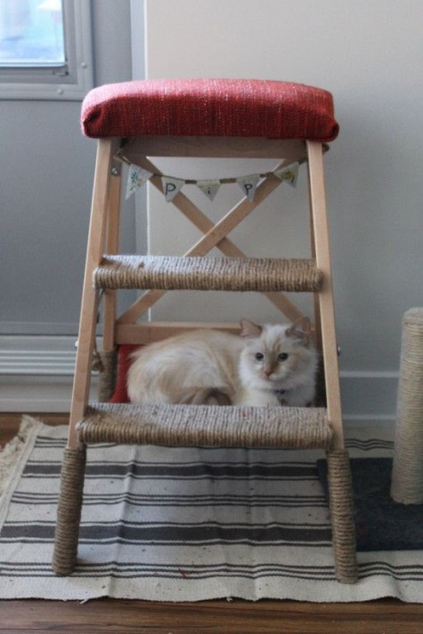 a Bekvam ladder turned into a comfy cat tree with a hammock