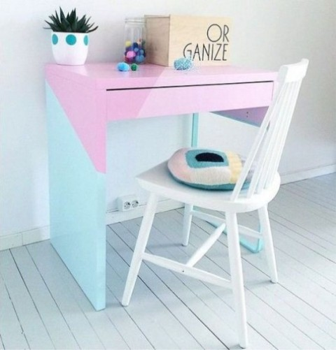 a bold color block Micke hack in pastel shades is a great idea for a girlish space or a nursery