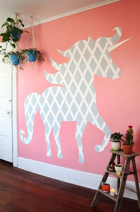 cut out a unicorn silhouette of old wallpaper and attach it to the wall