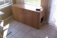 03 a Besta litter box cabinet with a cat head cutout is a fun idea for any space