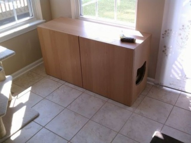 a Besta litter box cabinet with a cat head cutout is a fun idea for any space