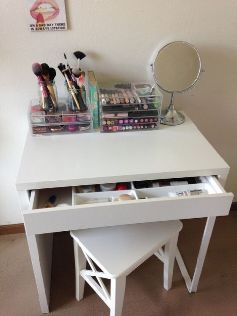 a cute makeup nook with an IKEA Micke desk - you won't need more for everythign you have