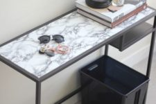 04 a modern entryway console table of an IKEA Vittsjo desk with a marble adhesive paper top