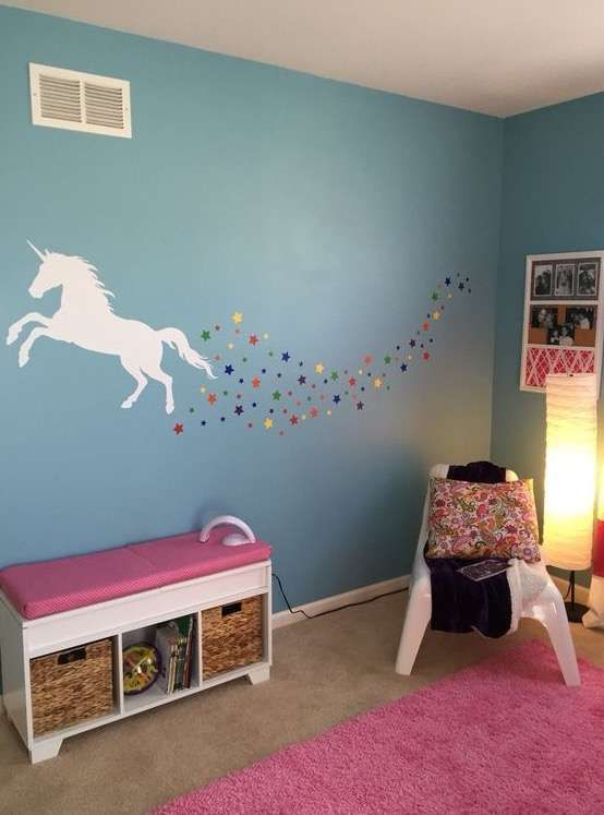 a unicorn silhouette and stars to spruce up a kids' room