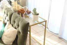 05 a gold Vittsjo desk used as a stylish modern console table in the living room