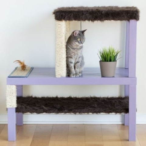 a comfy colorful IKEA condo with faux fur and scratchers of IKEA Lack tables and shelves