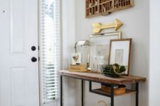06 a rustic console table of a Vittsjo desk plus a rough wooden tabletop